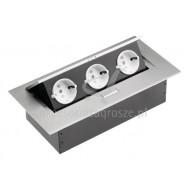 Przedłużacz biurkowy 2 gniazda + 1 USB + GNAZDO ANTENA aluminium AE-PB02GS-53