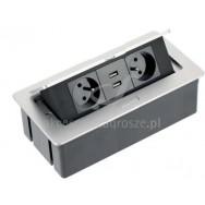 Przedłużacz 2 gniazda + 2 USB alu AE-PBSUC2GU-53